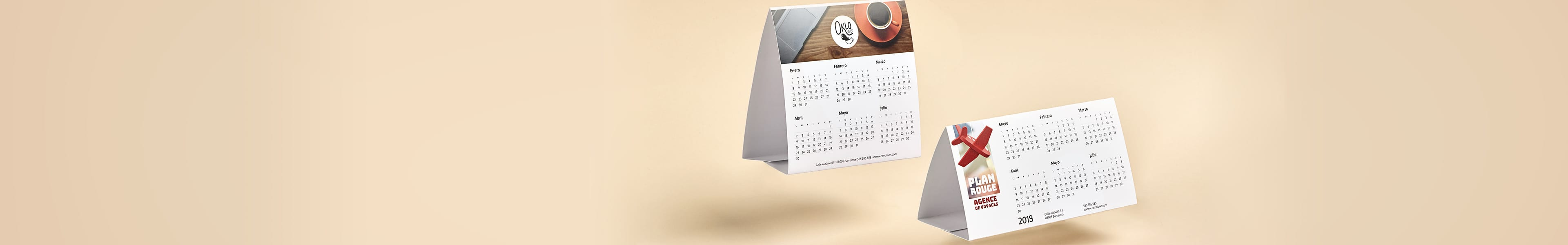 Calendriers simples de table 2019